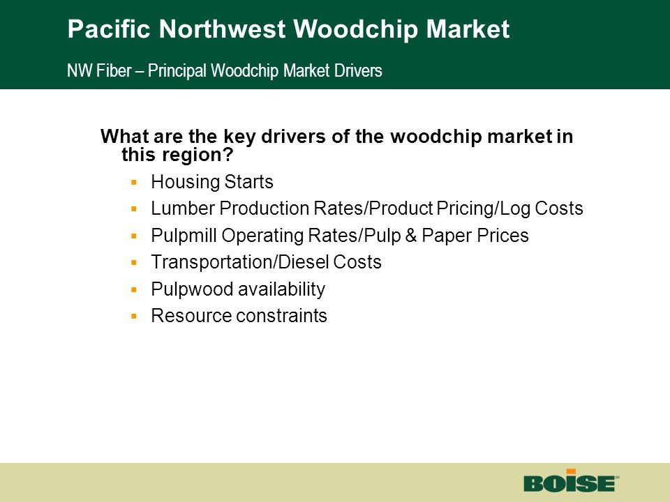 Boise | Building a New BoiseNet Page 7 NW Fiber – Principal Woodchip Market Drivers What are the key drivers of the woodchip market in this region? 