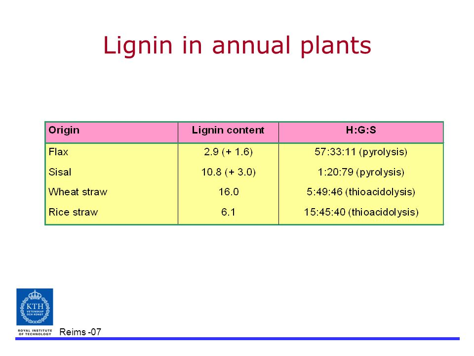 Reims -07 Lignin in annual plants