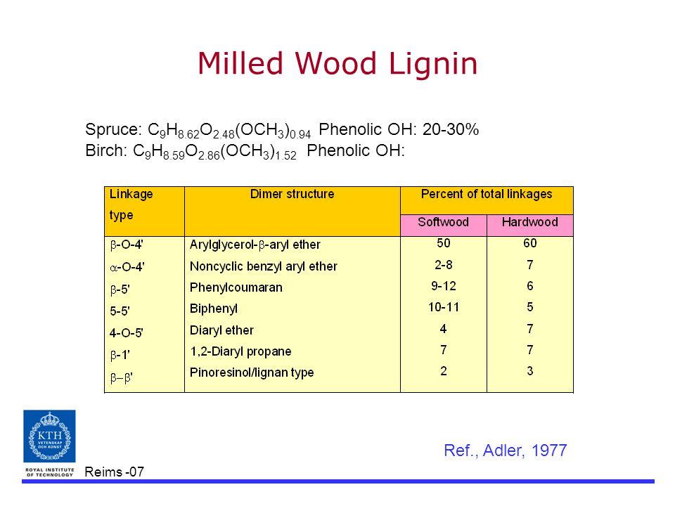 Reims -07 Spruce: C 9 H 8.62 O 2.48 (OCH 3 ) 0.94 Phenolic OH: 20-30% Birch: C 9 H 8.59 O 2.86 (OCH 3 ) 1.52 Phenolic OH: Milled Wood Lignin Ref., Adler, 1977