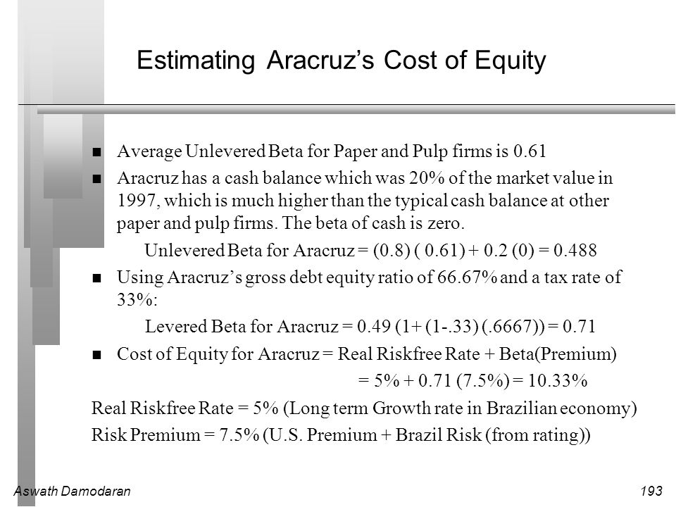 Aswath Damodaran194 Estimating Cost of Equity: Deutsche Bank Deutsche Bank is in two different segments of business - commercial banking and investment banking.