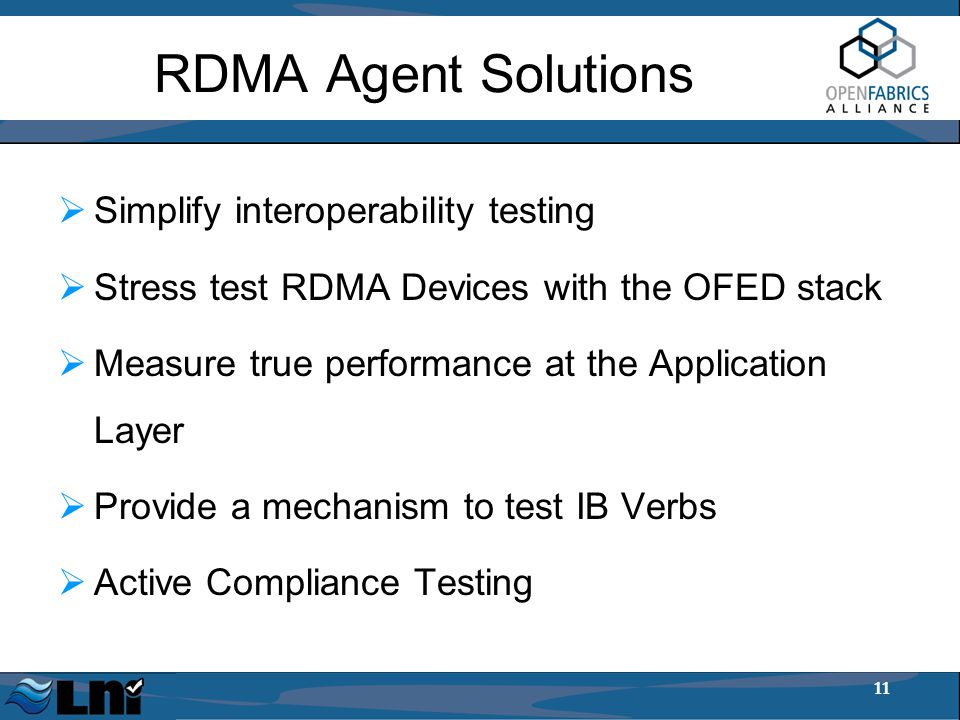 11 RDMA Agent Solutions  Simplify interoperability testing  Stress test RDMA Devices with the OFED stack  Measure true performance at the Application Layer  Provide a mechanism to test IB Verbs  Active Compliance Testing