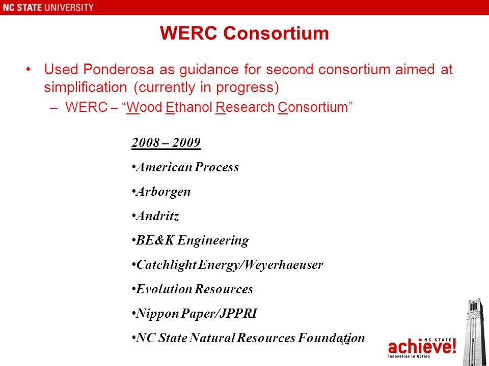 WERC Consortium Used Ponderosa as guidance for second consortium aimed at simplification (currently in progress) –WERC – Wood Ethanol Research Consortium 14 2008 – 2009 American Process Arborgen Andritz BE&K Engineering Catchlight Energy/Weyerhaeuser Evolution Resources Nippon Paper/JPPRI NC State Natural Resources Foundation