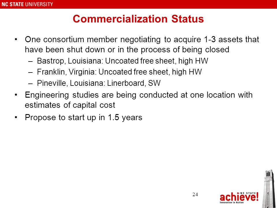 Commercialization Status One consortium member negotiating to acquire 1-3 assets that have been shut down or in the process of being closed –Bastrop, Louisiana: Uncoated free sheet, high HW –Franklin, Virginia: Uncoated free sheet, high HW –Pineville, Louisiana: Linerboard, SW Engineering studies are being conducted at one location with estimates of capital cost Propose to start up in 1.5 years 24