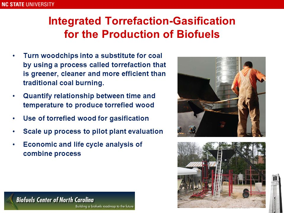 Integrated Torrefaction-Gasification for the Production of Biofuels Turn woodchips into a substitute for coal by using a process called torrefaction that is greener, cleaner and more efficient than traditional coal burning.