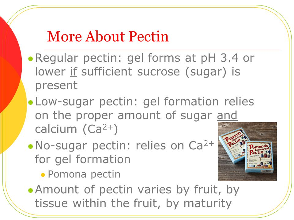 More About Pectin Regular pectin: gel forms at pH 3.4 or lower if sufficient sucrose (sugar) is present Low-sugar pectin: gel formation relies on the proper amount of sugar and calcium (Ca 2+ ) No-sugar pectin: relies on Ca 2+ for gel formation Pomona pectin Amount of pectin varies by fruit, by tissue within the fruit, by maturity