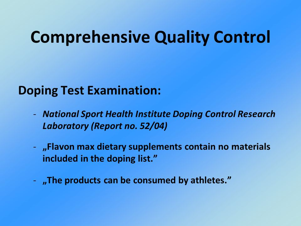 Doping Test Examination: -National Sport Health Institute Doping Control Research Laboratory (Report no.