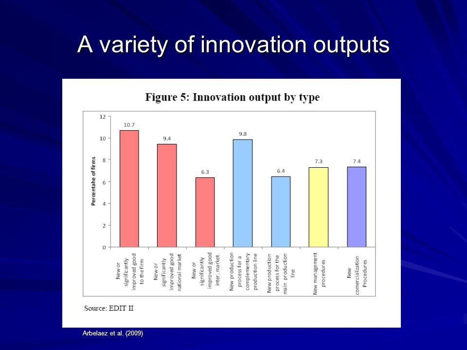 A variety of innovation outputs Arbelaez et al. (2009)