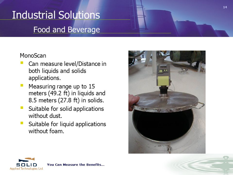 You Can Measure the Benefits… 14 Food and Beverage MonoScan  Can measure level/Distance in both liquids and solids applications.