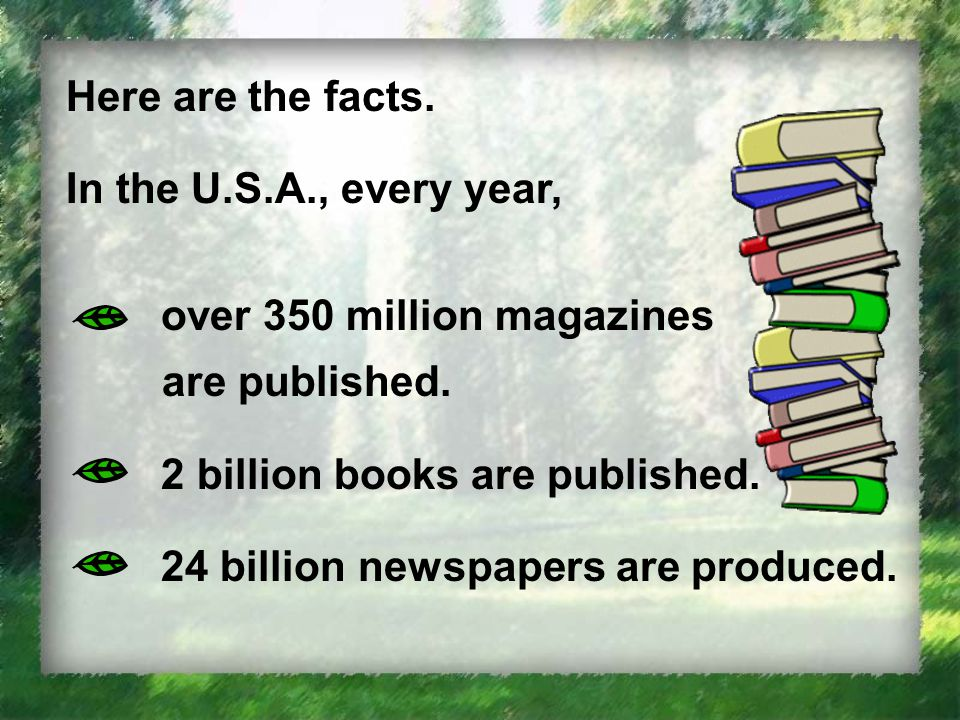 Here are the facts. In the U.S.A., every year, over 350 million magazines are published.