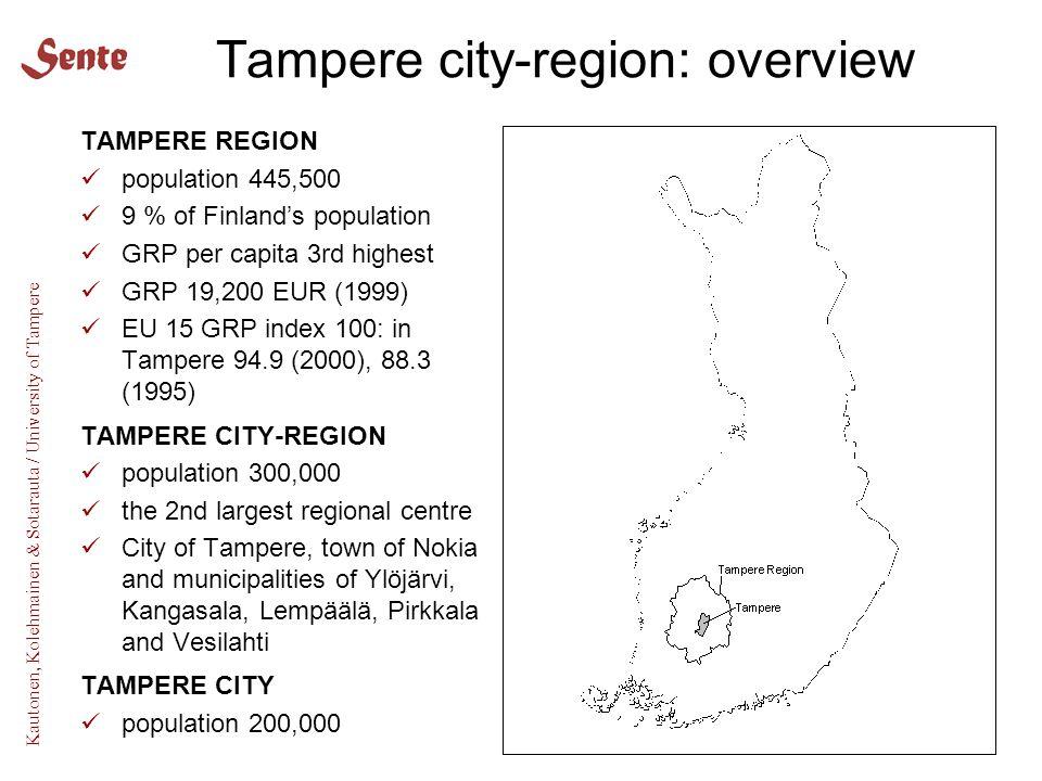 Kautonen, Kolehmainen & Sotarauta / University of Tampere Tampere city-region: overview TAMPERE REGION population 445,500 9 % of Finland's population GRP per capita 3rd highest GRP 19,200 EUR (1999) EU 15 GRP index 100: in Tampere 94.9 (2000), 88.3 (1995) TAMPERE CITY-REGION population 300,000 the 2nd largest regional centre City of Tampere, town of Nokia and municipalities of Ylöjärvi, Kangasala, Lempäälä, Pirkkala and Vesilahti TAMPERE CITY population 200,000