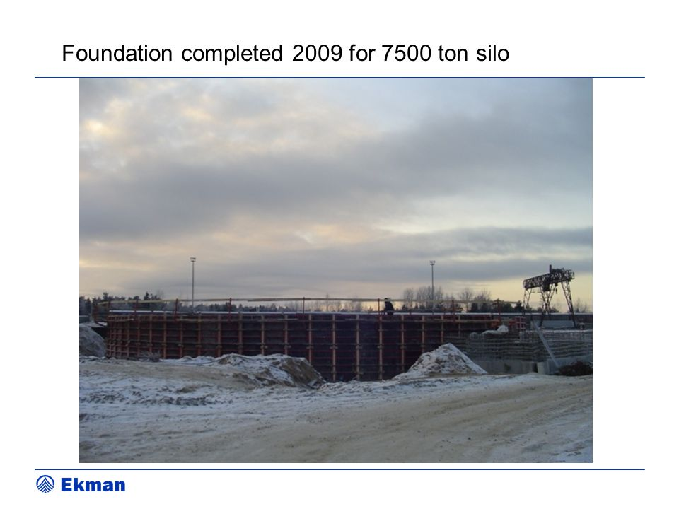 Foundation completed 2009 for 7500 ton silo