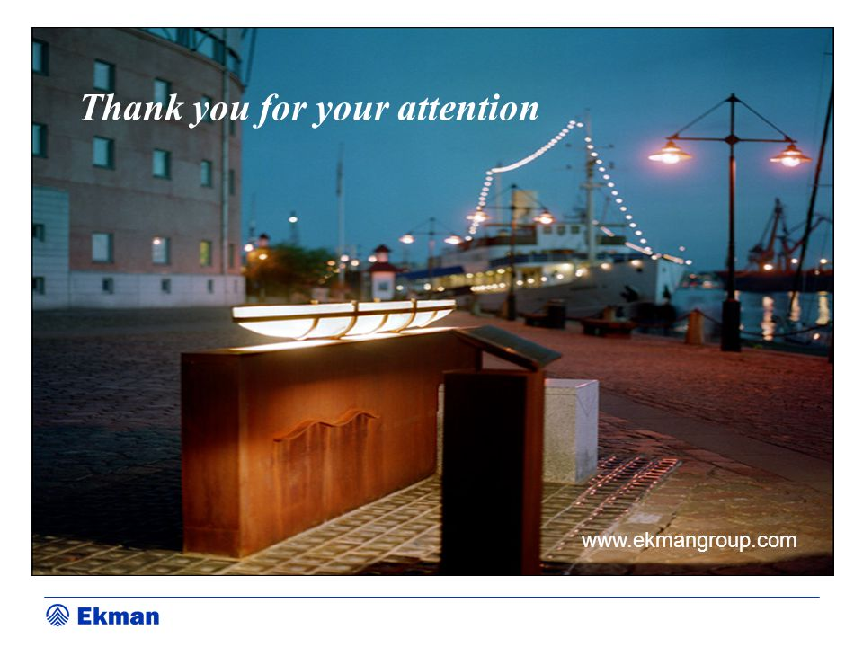 Thank you for your attention www.ekmangroup.com