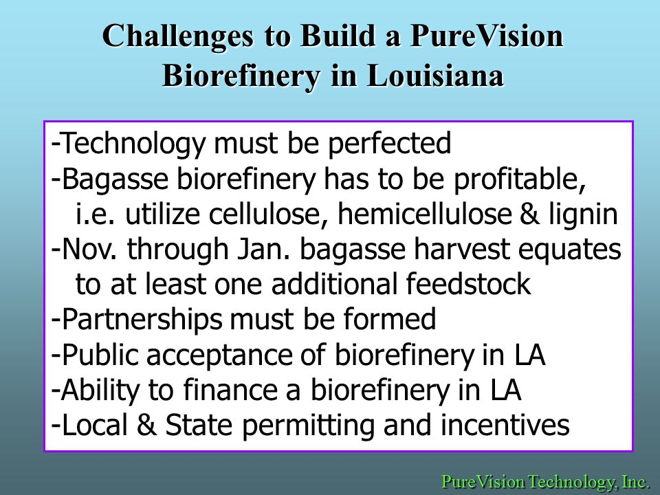-Technology must be perfected -Bagasse biorefinery has to be profitable, i.e.
