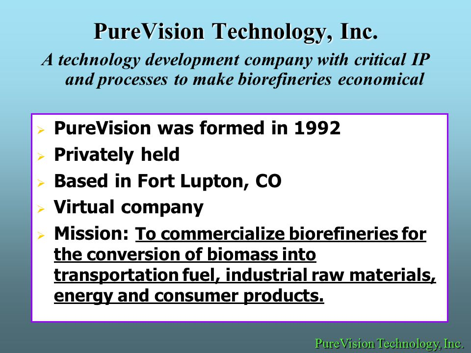 PureVision Technology, Inc PureVision Technology, Inc.