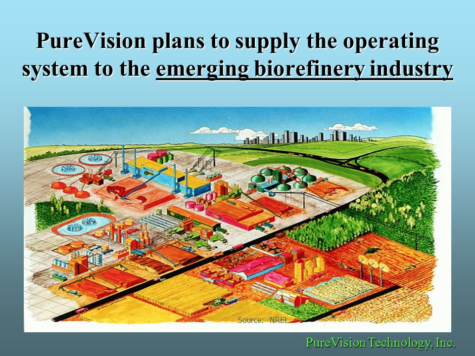 PureVision plans to supply the operating system to the emerging biorefinery industry Source: NREL PureVision Technology, Inc.