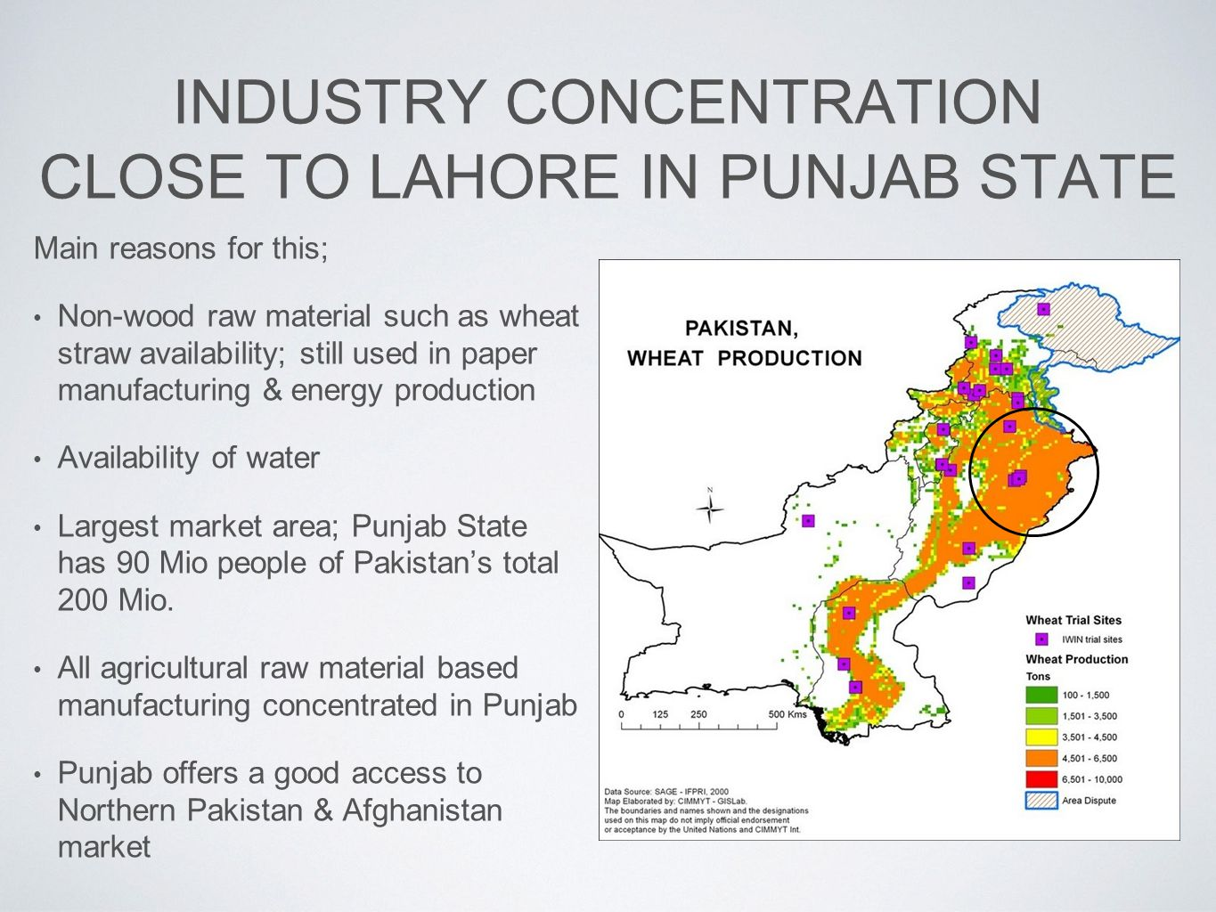 INDUSTRY CONCENTRATION CLOSE TO LAHORE IN PUNJAB STATE Main reasons for this; Non-wood raw material such as wheat straw availability; still used in paper manufacturing & energy production Availability of water Largest market area; Punjab State has 90 Mio people of Pakistan's total 200 Mio.
