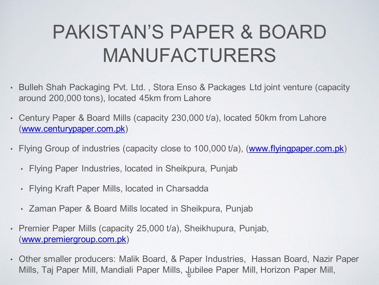 PAKISTAN'S PAPER & BOARD MANUFACTURERS Bulleh Shah Packaging Pvt.