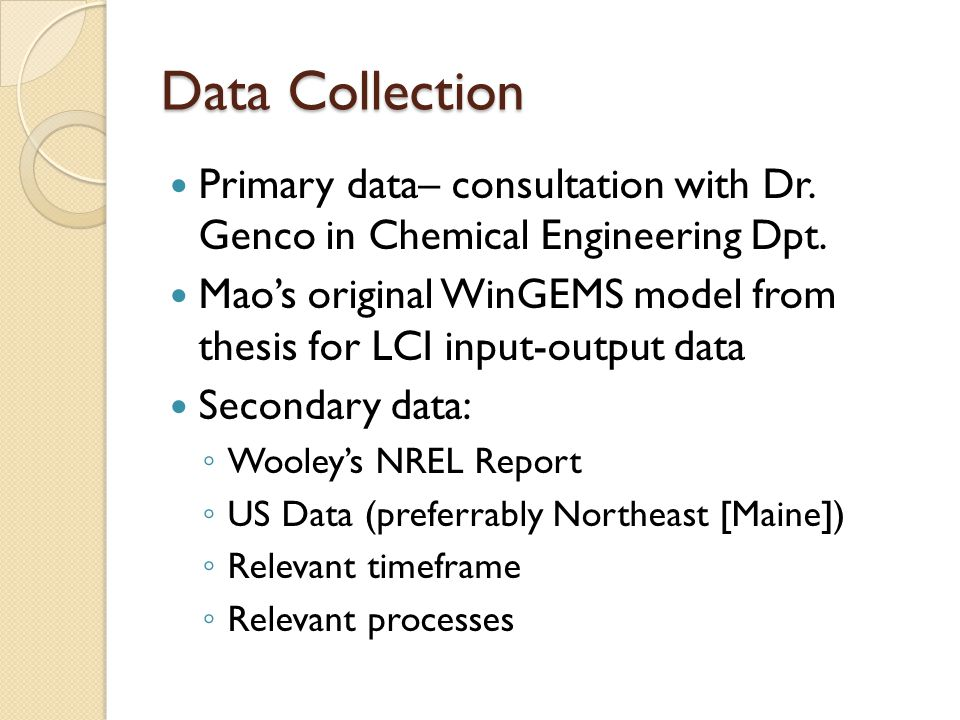 Data Collection Primary data– consultation with Dr.