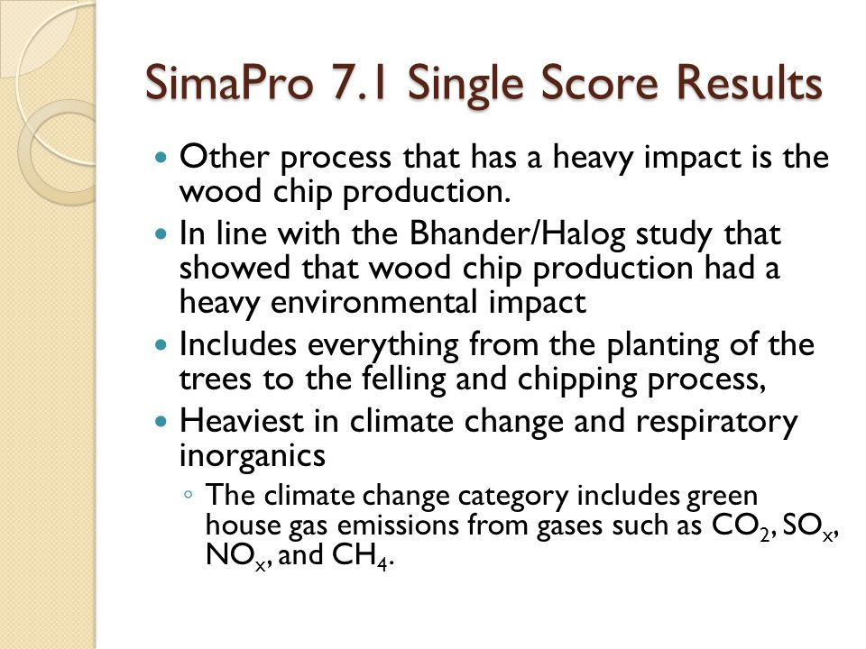 SimaPro 7.1 Single Score Results Other process that has a heavy impact is the wood chip production.