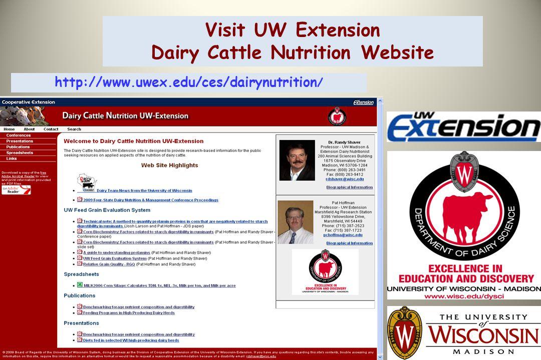 Visit UW Extension Dairy Cattle Nutrition Website http://www.uwex.edu/ces/dairynutrition /
