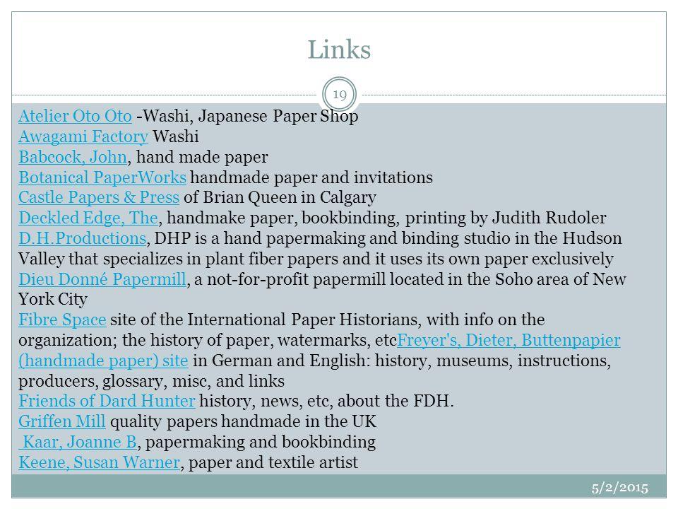 Links Atelier Oto OtoAtelier Oto Oto -Washi, Japanese Paper Shop Awagami Factory Washi Babcock, John, hand made paper Botanical PaperWorks handmade pa