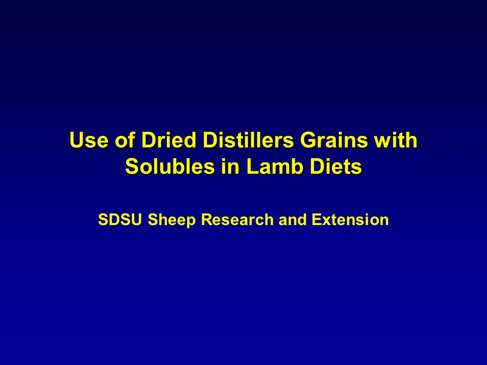 Use of Dried Distillers Grains with Solubles in Lamb Diets SDSU Sheep Research and Extension
