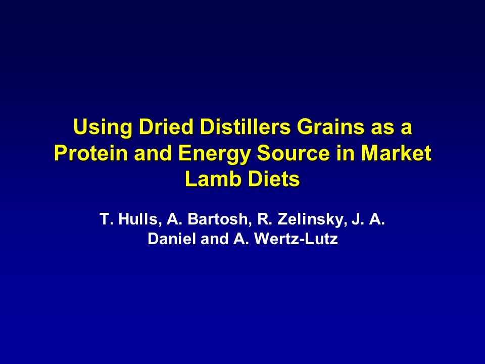 Using Dried Distillers Grains as a Protein and Energy Source in Market Lamb Diets T.