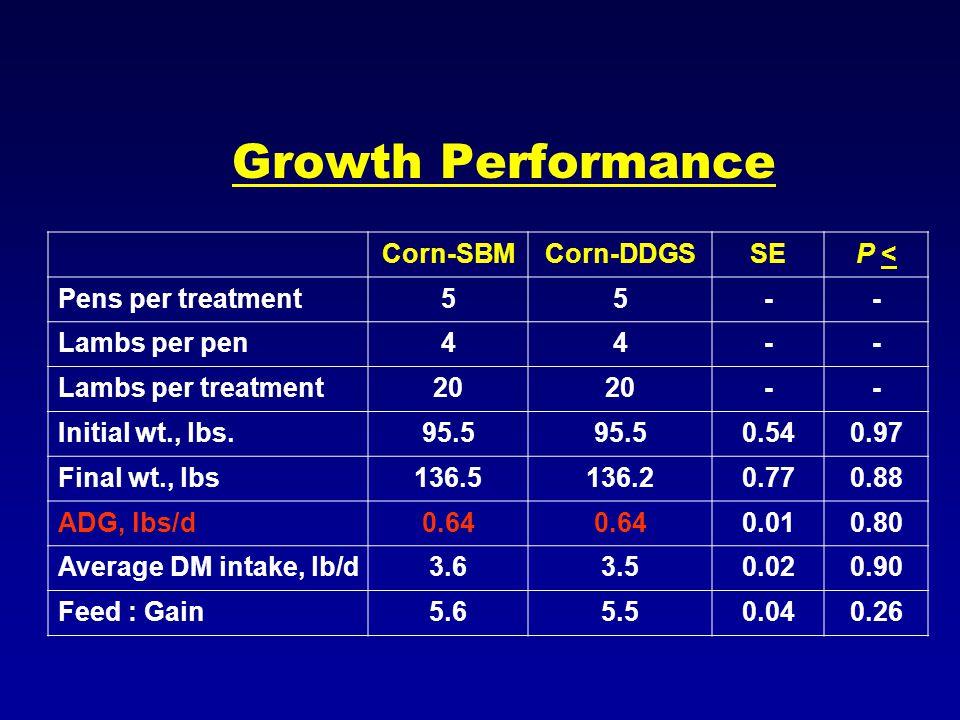 Growth Performance Corn-SBMCorn-DDGSSEP <P < Pens per treatment55-- Lambs per pen44-- Lambs per treatment20 -- Initial wt., lbs.95.5 0.540.97 Final wt., lbs136.5136.20.770.88 ADG, lbs/d0.64 0.010.80 Average DM intake, lb/d3.63.50.020.90 Feed : Gain5.65.50.040.26