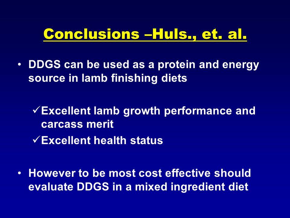 Conclusions –Huls., et.al.