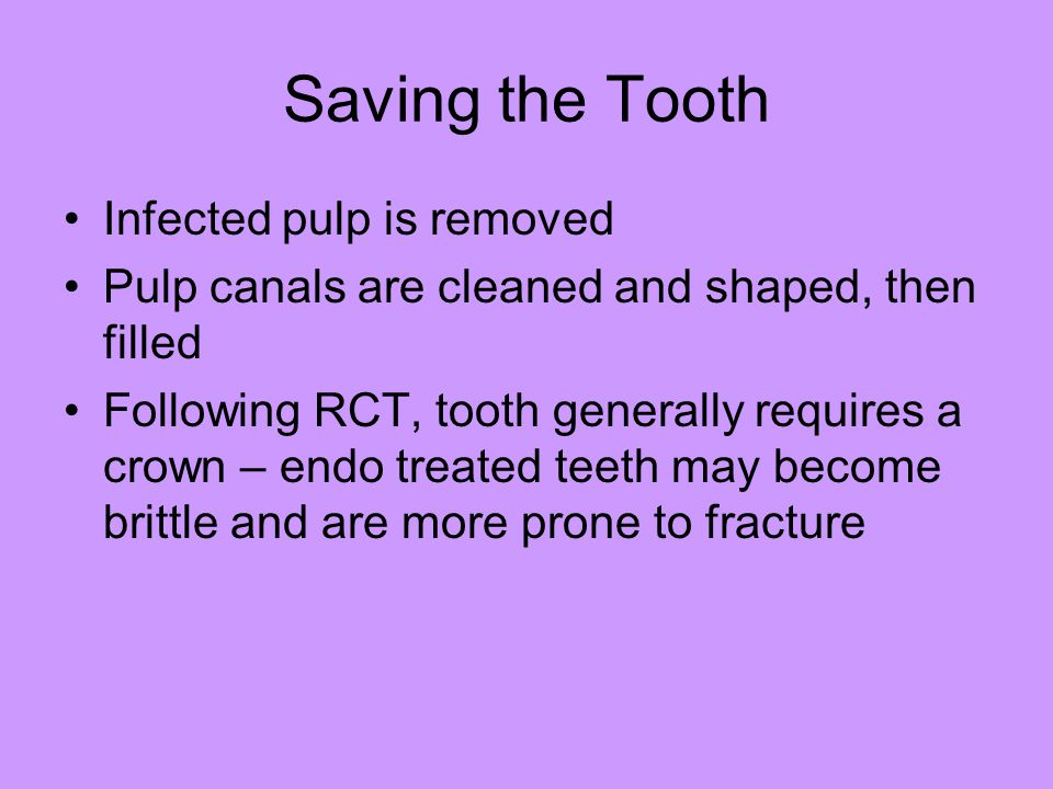 Saving the Tooth Infected pulp is removed Pulp canals are cleaned and shaped, then filled Following RCT, tooth generally requires a crown – endo treat