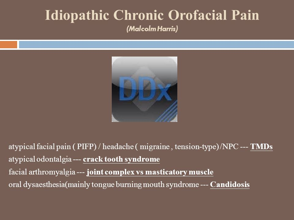 Idiopathic Chronic Orofacial Pain (Malcolm Harris) atypical facial pain ( PIFP) / headache ( migraine, tension-type) /NPC --- TMDs atypical odontalgia --- crack tooth syndrome facial arthromyalgia --- joint complex vs masticatory muscle oral dysaesthesia(mainly tongue burning mouth syndrome --- Candidosis