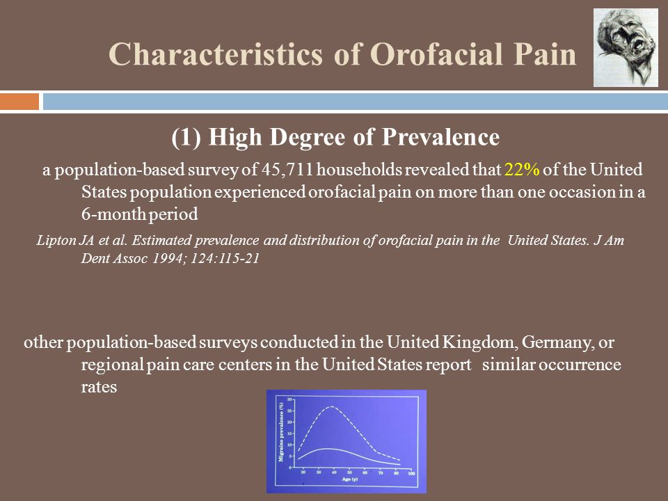 Characteristics of Orofacial Pain (1) High Degree of Prevalence a population-based survey of 45,711 households revealed that 22% of the United States population experienced orofacial pain on more than one occasion in a 6-month period Lipton JA et al.