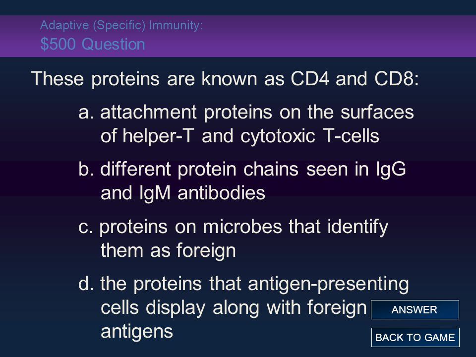 Adaptive (Specific) Immunity: $500 Question These proteins are known as CD4 and CD8: a.
