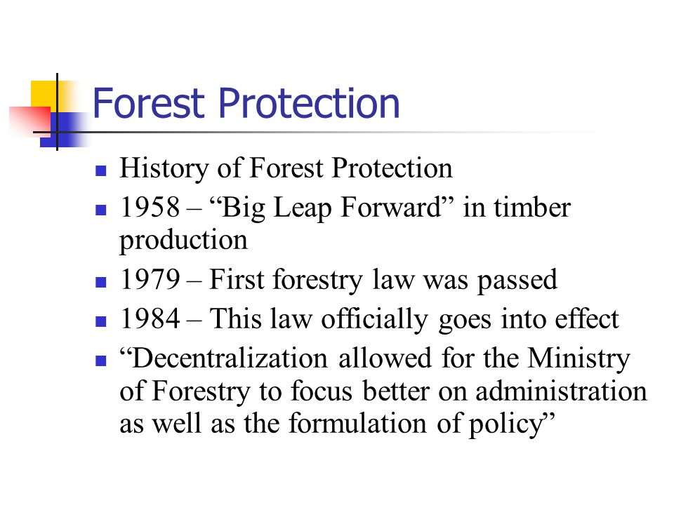 Forest Protection However, forests were left to the local governments to handle At times, many TVE's and local projects, in the spirit of economic growth and development, ignored environmental laws, which caused great damage to China's forests