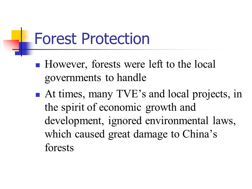 Deforestation and Flooding Natural Disaster in 1998 shifts paradigms concerning China's forests There was also shift in focus from pure market development to environmental protection by the central government in terms of forests and wooded areas as a result of this disaster, caused, in part, by the destruction of forests along the Yangtze