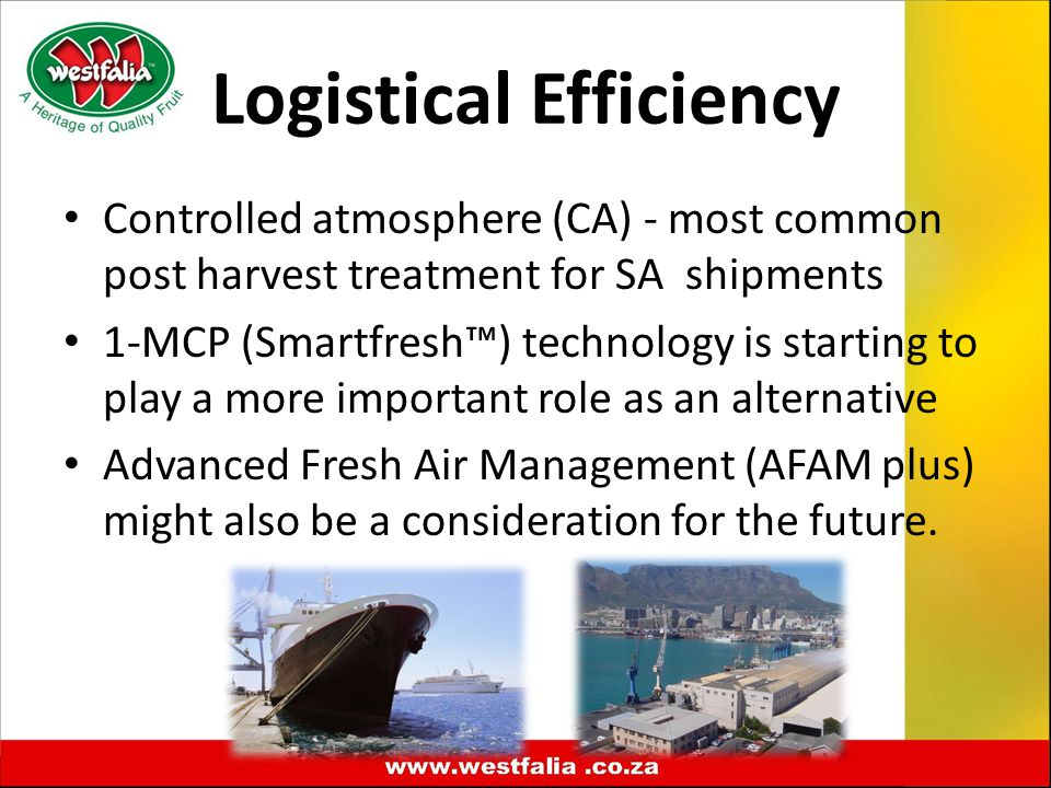 Logistical Efficiency Controlled atmosphere (CA) - most common post harvest treatment for SA shipments 1-MCP (Smartfresh™) technology is starting to play a more important role as an alternative Advanced Fresh Air Management (AFAM plus) might also be a consideration for the future.