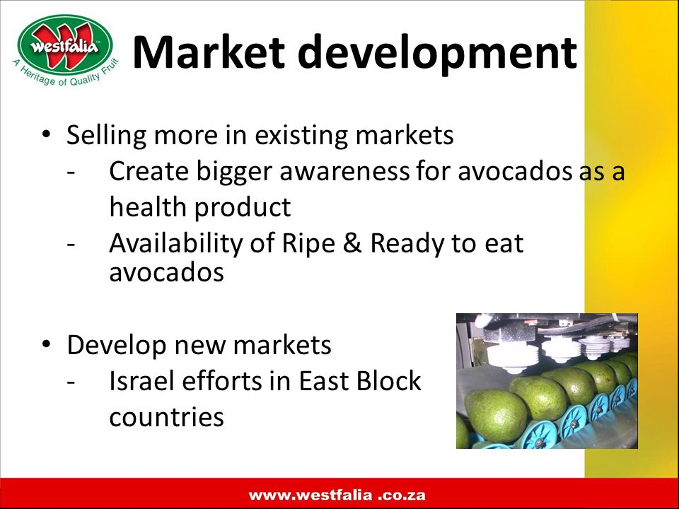 Market development Selling more in existing markets -Create bigger awareness for avocados as a health product -Availability of Ripe & Ready to eat avocados Develop new markets -Israel efforts in East Block countries