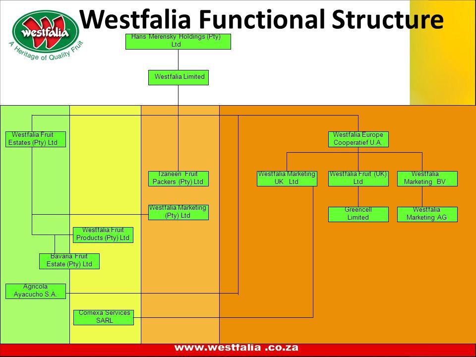 Westfalia Functional Structure Westfalia Limited Westfalia Marketing (Pty) Ltd Tzaneen Fruit Packers (Pty) Ltd Westfalia Marketing BV Westfalia Marketing AG Hans Merensky Holdings (Pty) Ltd Comexa Services SARL Westfalia Europe Cooperatief U.A.