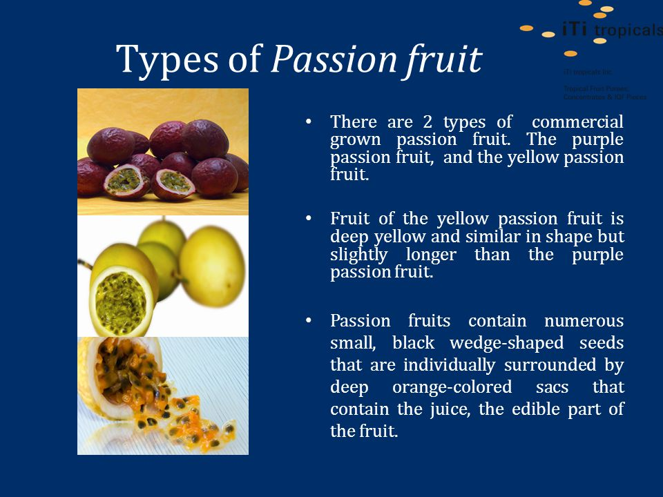 Types of Passion fruit There are 2 types of commercial grown passion fruit.