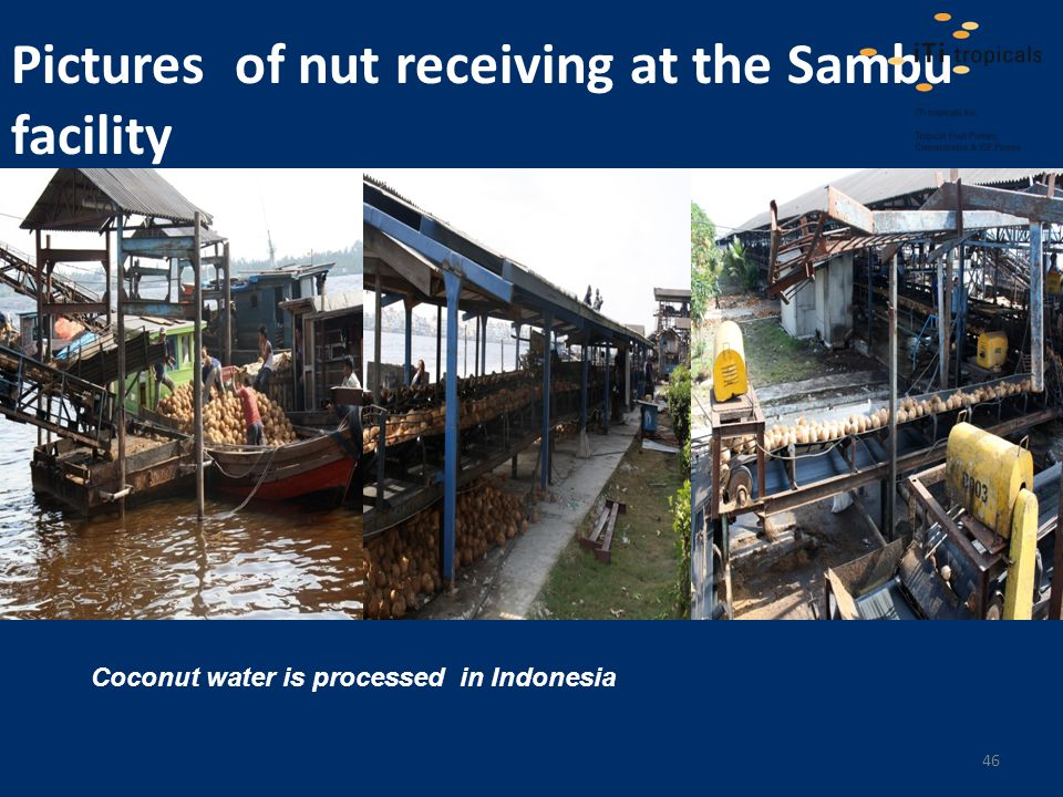 Pictures of nut receiving at the Sambu facility Coconut water is processed in Indonesia 46