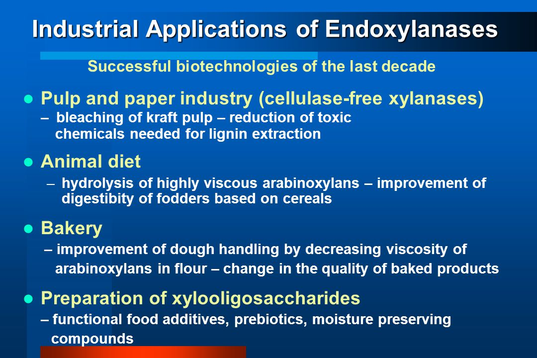 Industrial Applications of Endoxylanases Successful biotechnologies of the last decade Pulp and paper industry (cellulase-free xylanases) – bleaching