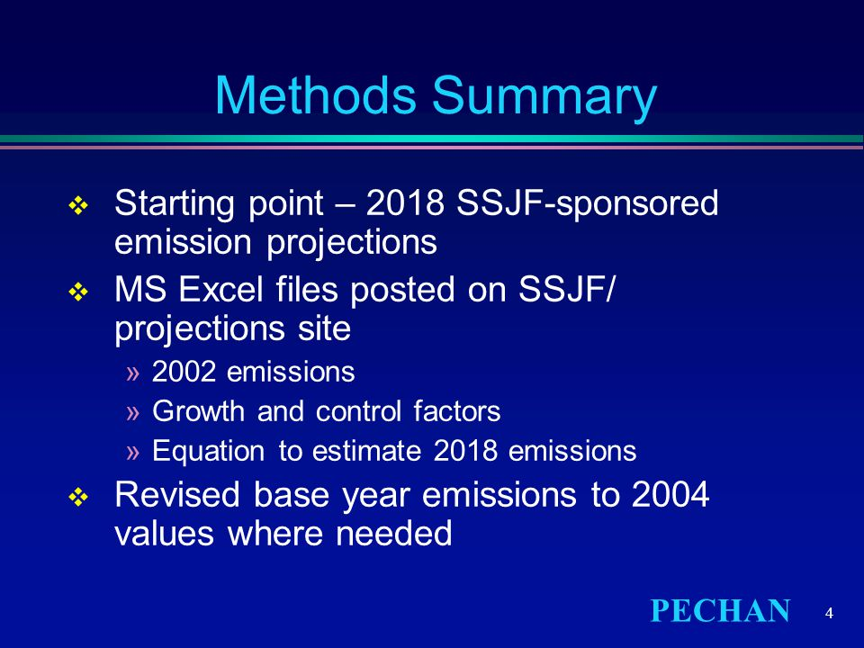 PECHAN 4 Methods Summary  Starting point – 2018 SSJF-sponsored emission projections  MS Excel files posted on SSJF/ projections site »2002 emissions »Growth and control factors »Equation to estimate 2018 emissions  Revised base year emissions to 2004 values where needed