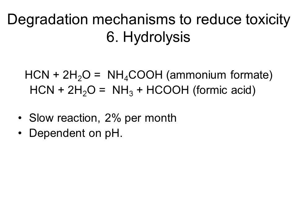 Degradation mechanisms to reduce toxicity 6. Hydrolysis HCN + 2H 2 O = NH 4 COOH (ammonium formate) HCN + 2H 2 O = NH 3 + HCOOH (formic acid) Slow rea