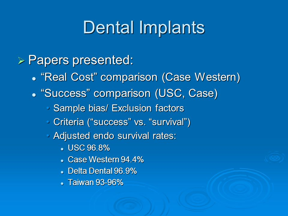 Dental Implants  Papers presented: Real Cost comparison (Case Western) Real Cost comparison (Case Western) Success comparison (USC, Case) Success comparison (USC, Case) Sample bias/ Exclusion factorsSample bias/ Exclusion factors Criteria ( success vs.