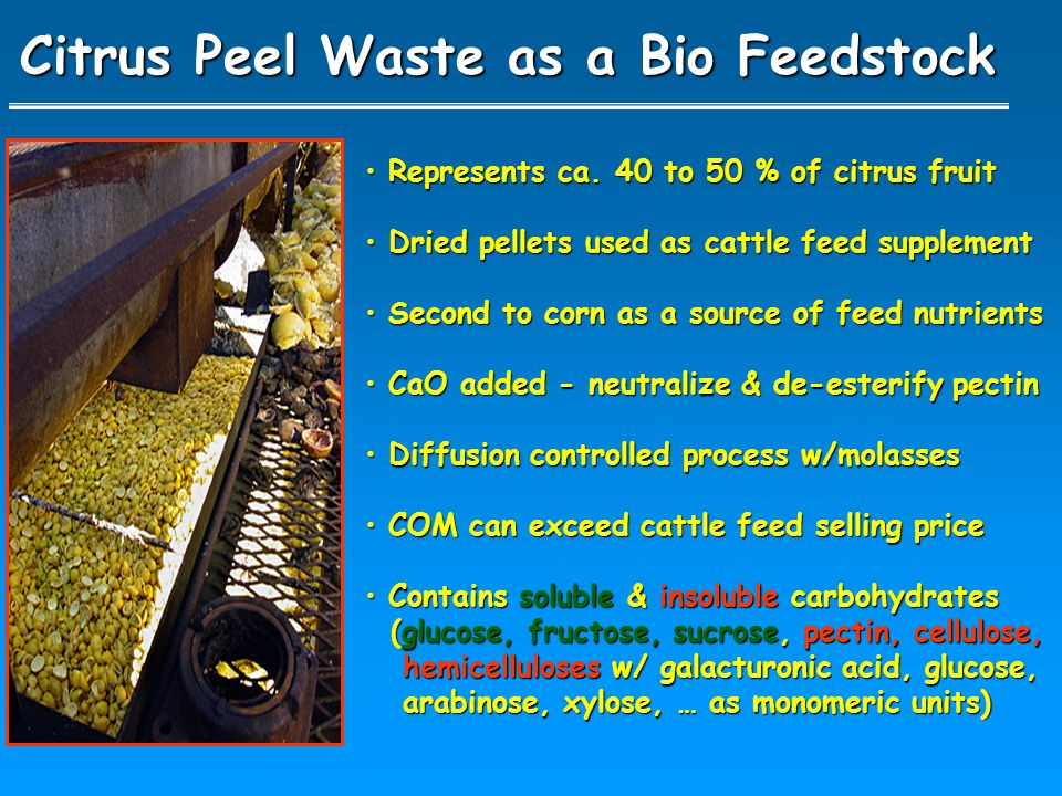 Citrus Peel Waste as a Bio Feedstock Represents ca. 40 to 50 % of citrus fruit Represents ca. 40 to 50 % of citrus fruit Dried pellets used as cattle
