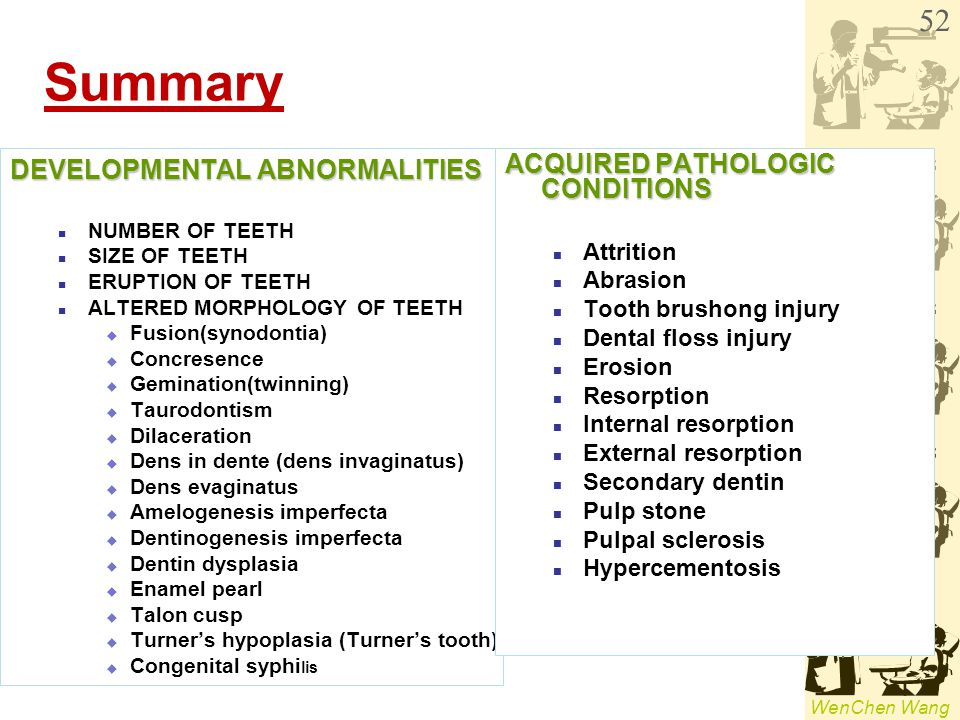 WenChen Wang Summary DEVELOPMENTAL ABNORMALITIES NUMBER OF TEETH SIZE OF TEETH ERUPTION OF TEETH ALTERED MORPHOLOGY OF TEETH  Fusion(synodontia)  Co