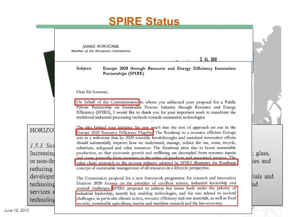 June 19, 2012 SPIRE Status HORIZON2020 - COM(2011) 811 final (p42), COM(2011) 809 final (p51) 1.5.3.