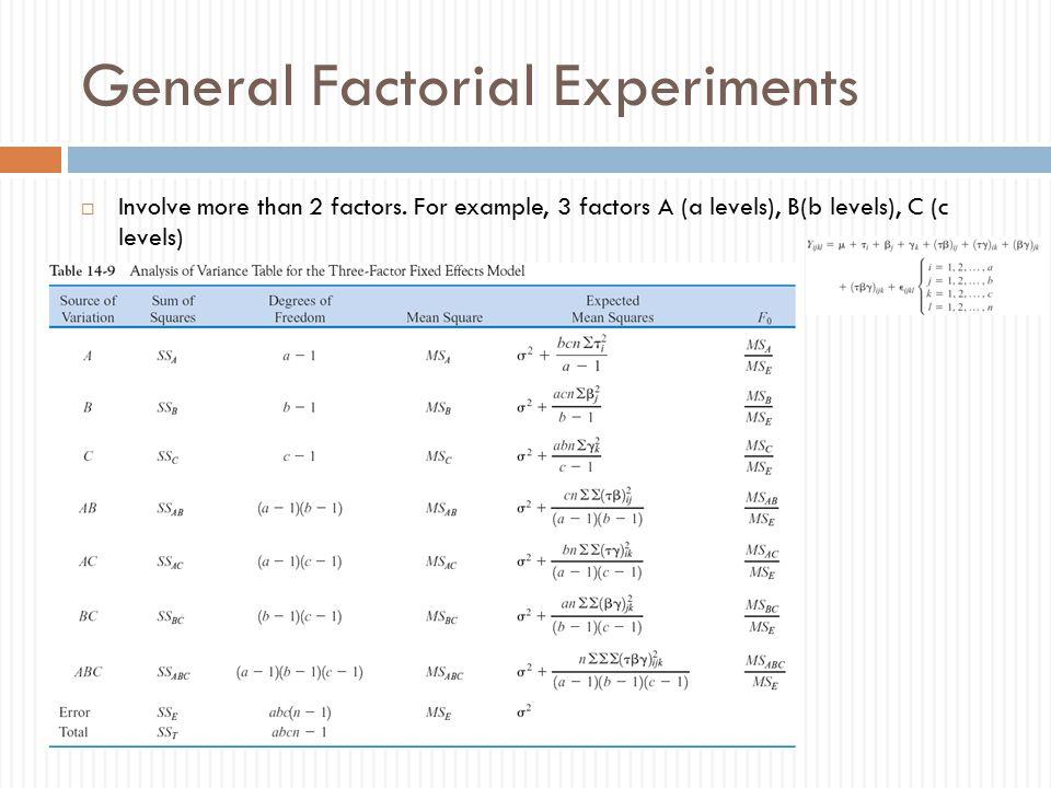 General Factorial Experiments  Involve more than 2 factors.