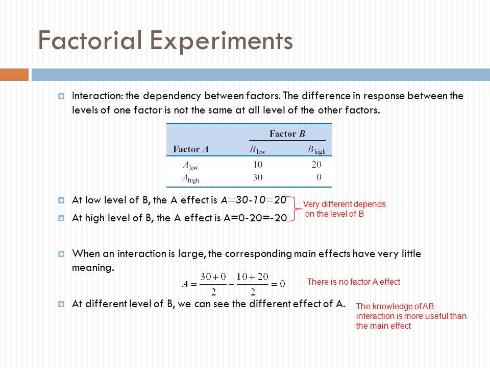 Factorial Experiments  Interaction: the dependency between factors.