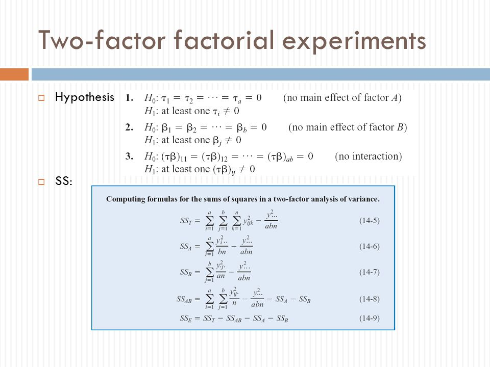 Two-factor factorial experiments  Hypothesis  SS: